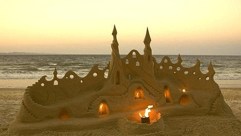 Illuminated Sand Castle, Santa Cruz, California