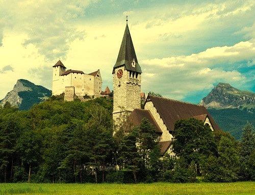 Gutenberg Castle and church in Balzers, Liechtenstein.