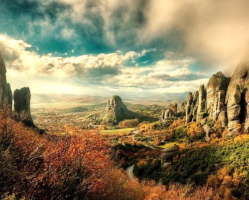by blame_the_monkey on Flickr.The Valley Of Fog - Meteora, Greece.