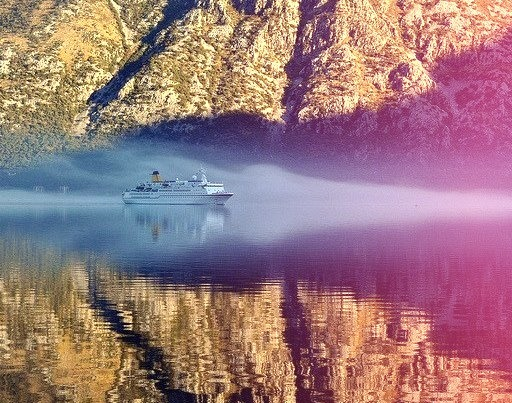 by Atilla2008 on Flickr.Ghostly Cruise Ship slowly gliding up the Bay of Kotor in Montenegro.