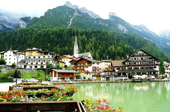 The beautiful village of Alleghe, Belluno province, Italy