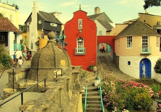 The popular tourist village of Portmeirion in Gwynedd, North Wales
