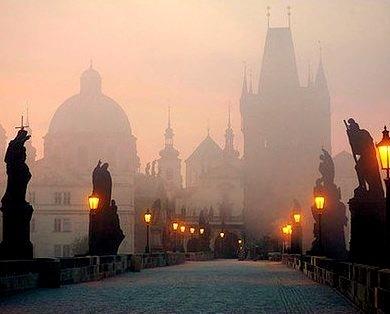 Foggy Night, Prague, Czech Republic