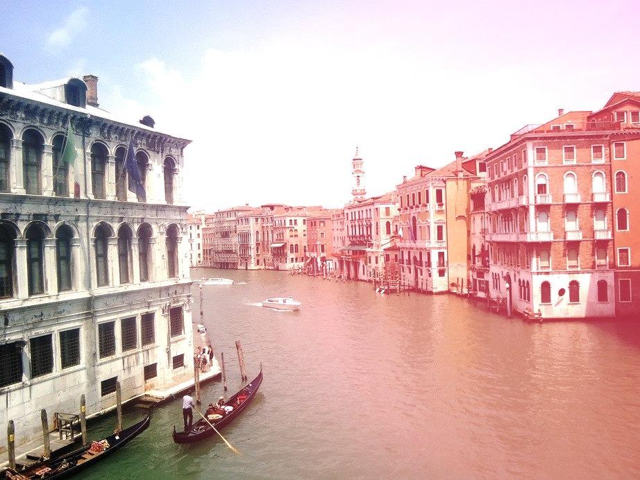 Gondolas on the Grand Canal, Venice, Italy.
