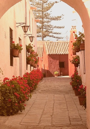 Picturesque alley at Santa Catalina Convent in Arequipa, Peru