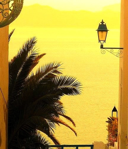 Mediterranean view from the streets of Sidi Bou Said, Tunisia