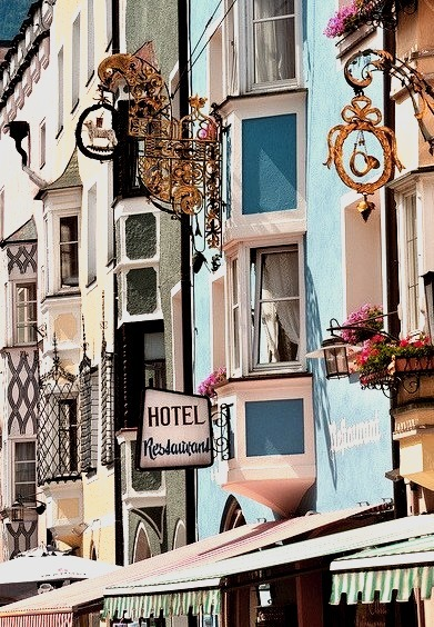 Colorful buildings in Vipiteno, Sudtirol, Italy