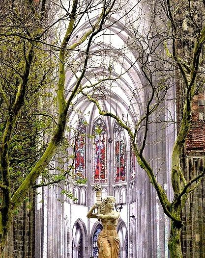 Statue in front of the Domkerk in Utrecht, Netherlands
