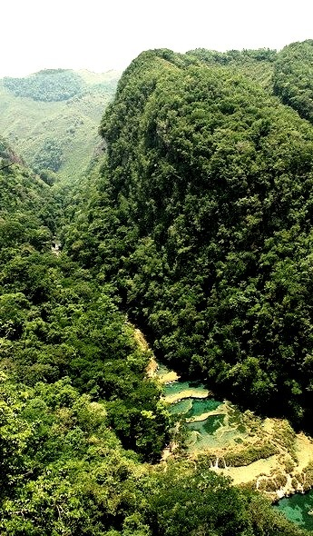 Overlooking the beautiful water pools of Semuc Champey in Guatemala