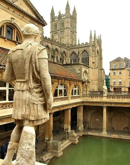 The ancient roman baths of Aquae Sulis in Bath, England