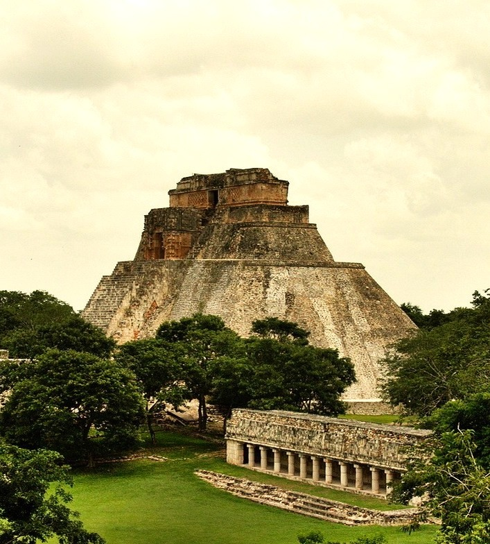 The Pyramid of the Magician in the ancient maya city of Uxmal, Mexico