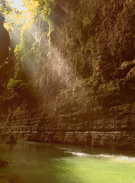 Ray of lights in the Green Canyon, West Java, Indonesia